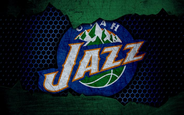 Download wallpapers Utah Jazz, 4k, logo, NBA, basketball