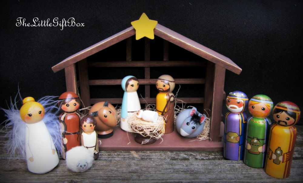 Nativity Set of 14 pieces/ hand painted / wood peg dolls/ Christmas Nativity. $124.95, via Etsy.