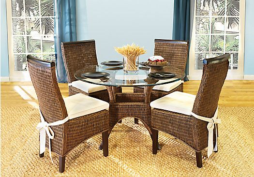 picture of Abaco Rattan 5 Pc Round Dining Room from Dining Room Sets ...