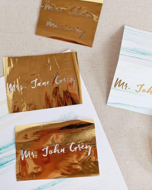 Diy Gold Foil Place Cards Gold Foil Diy Gold Foil Cards Gold Diy