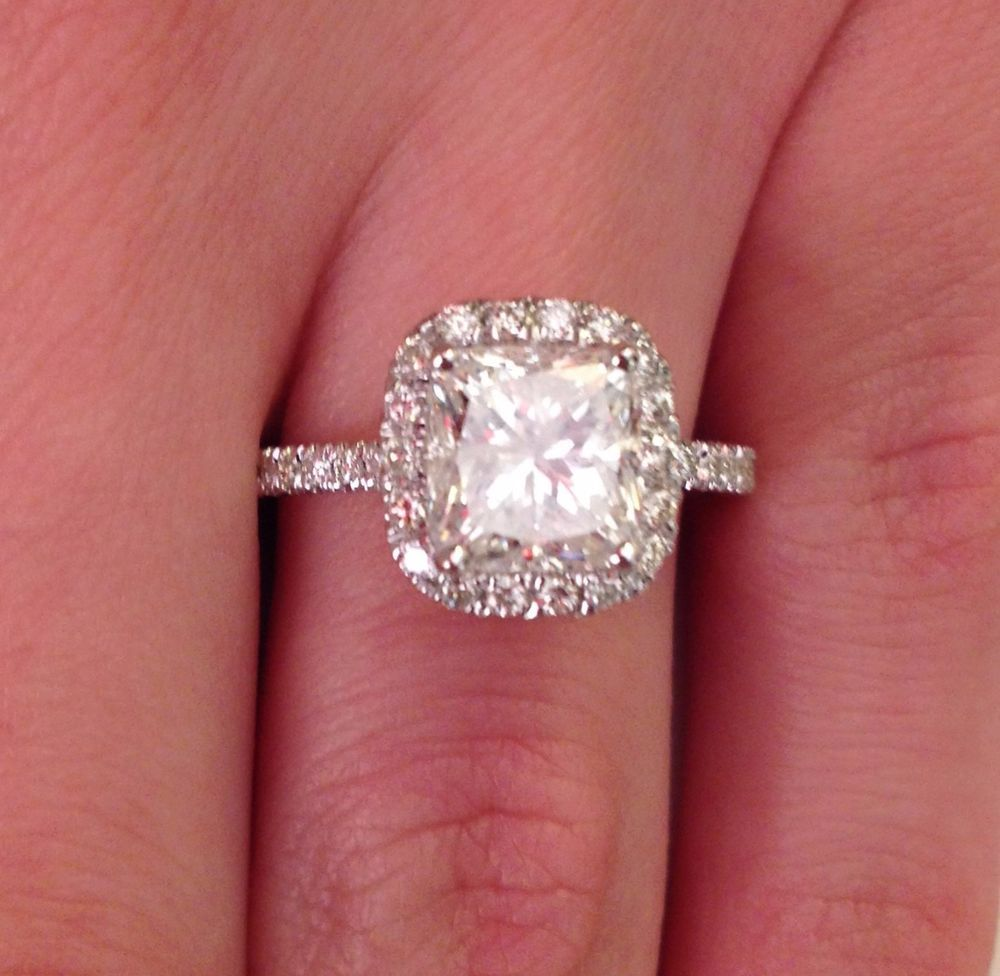 3.02 ct cushion cut d/si1 halo diamond engagement ring 14k white ...
