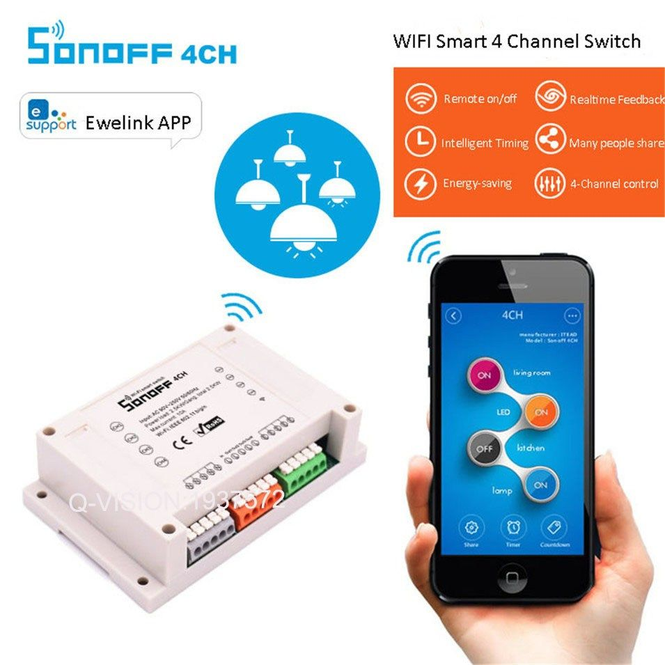 Buy US $17.68 Sonoff 4CH Smart Home WiFi Switch 4 Gang Wireless ...