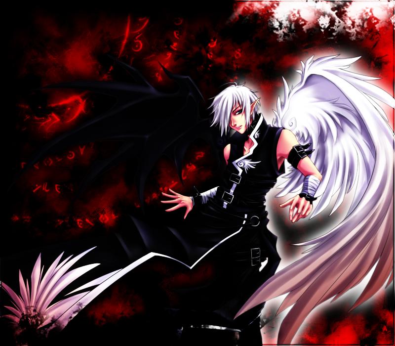 Anime Angel and Demon Half Angel, Half Demon... by