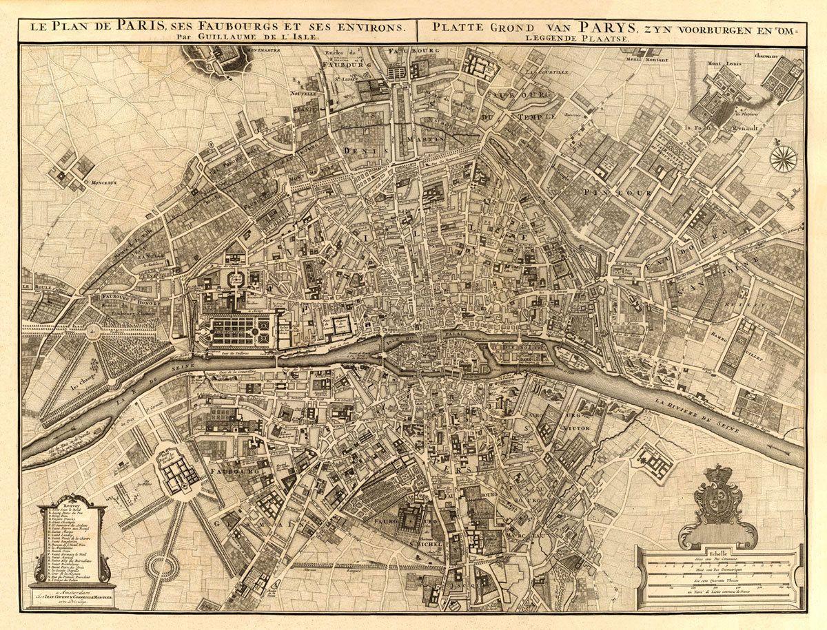 Archival Map Print Vintage Map Of Paris Antique Paris Map - Restoration hardware paris map