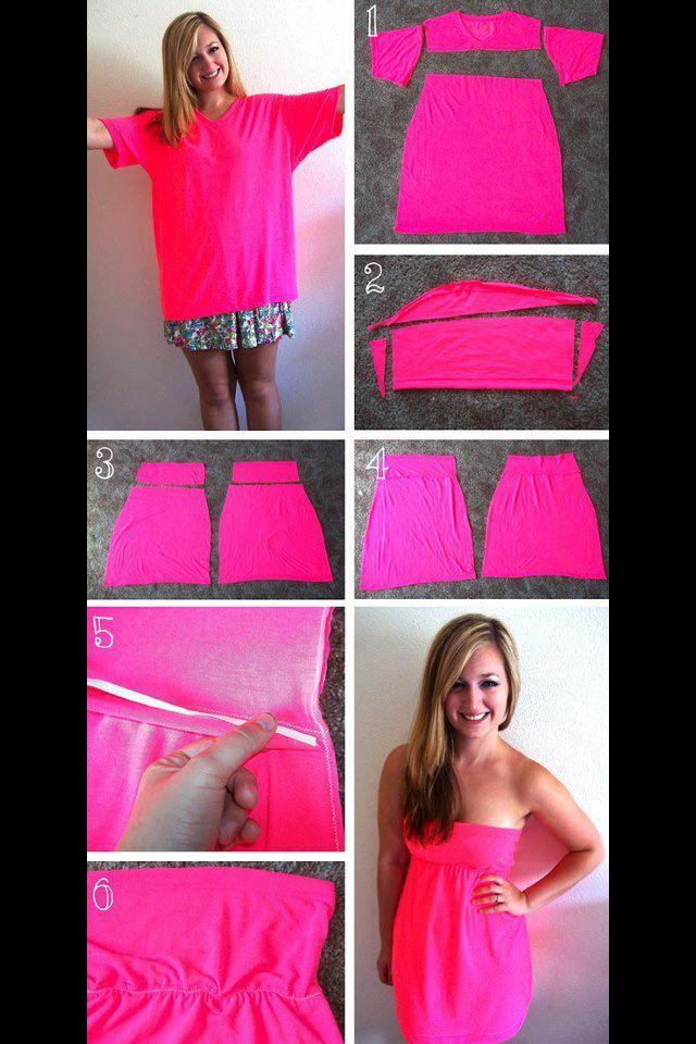 T shirt into strapless dress