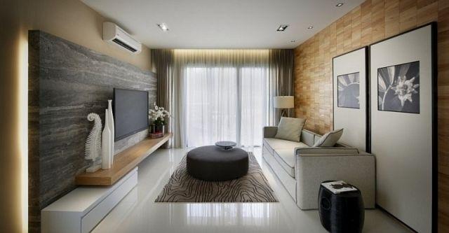 Wohnzimmer Modern Weiß Beige Indirekte Beleuchtung Stein Holz