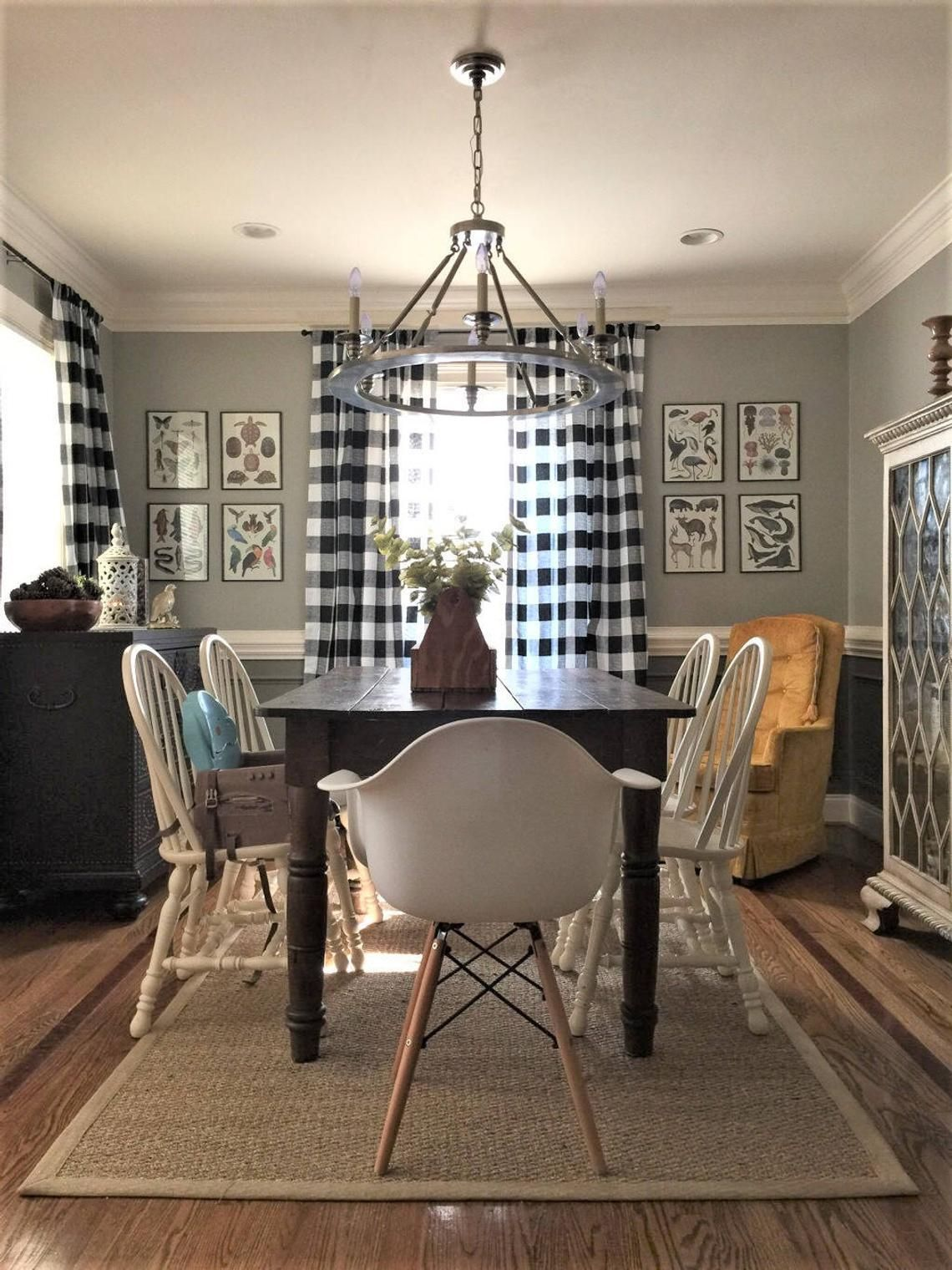 Black and White Buffalo Check Curtains 24 Width and 50