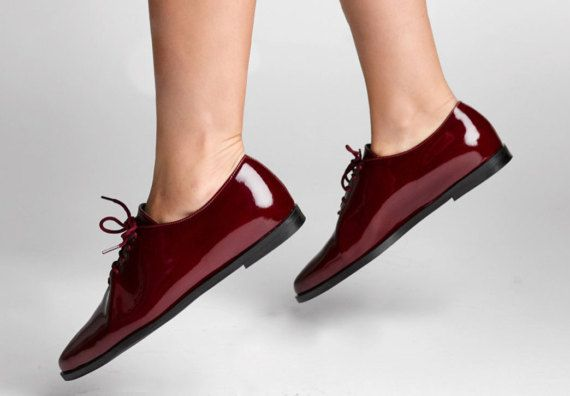 2e883584c7b0 50% SALE - Burgundy Women Oxford Shoes - Flat Lace Shoes - Laceup Oxfords -  Red Leather Shoes - Leat