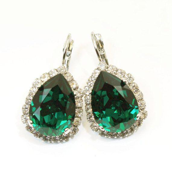 de666fdcf Emerald Green Earrings Emerald Wedding Emerald Green Swarovski Crystal  Earring Drop Earrings teardrop Halo earrings rhinestones Silver,SE101