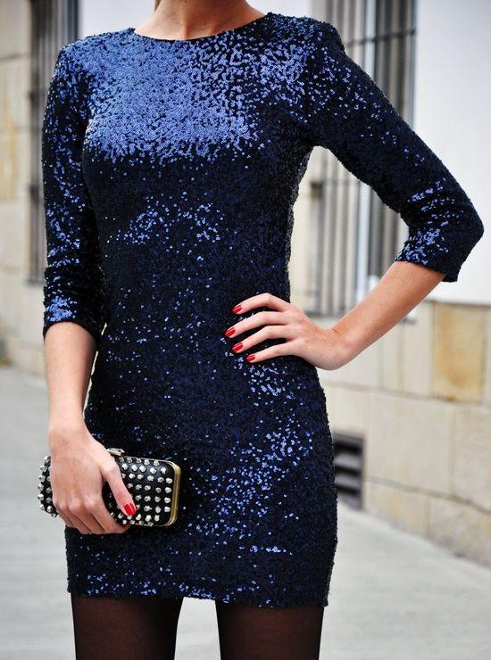 Blue Glitter Party Dress