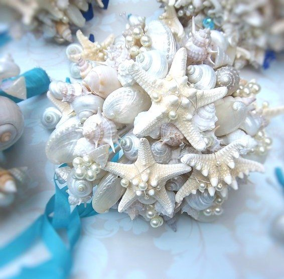 Seashell Wedding Bouquet Pearls White Turquoise Ribbon