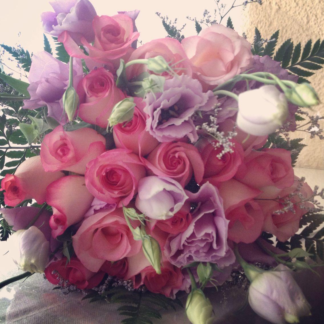 Rosas Lisianthus Pink Bouquet Diseofloral Decoracinfloral