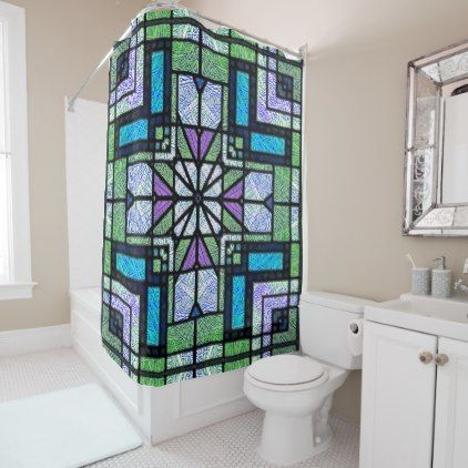Stained Glass Art Deco Design in Blue and Green Shower Curtain