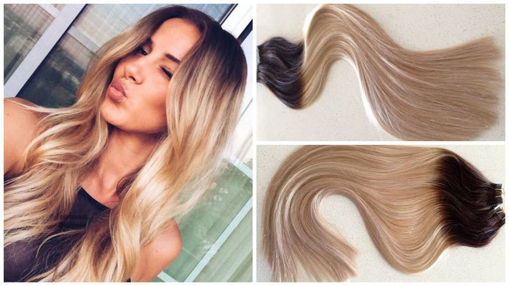 Brazilian Remy Ombre Tape In Human Hair Extensions Blonde Straight