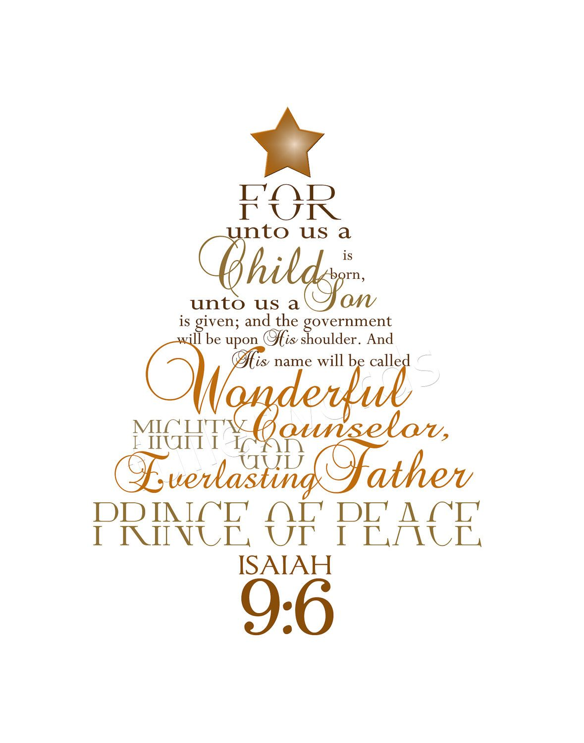 Christmas Word Art Isaiah 96 Golds Browns 5x7 By