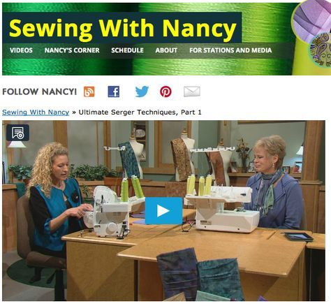 watch+Sewing+With+Nancy++online.+How+to+use+a+serger+sewing+machine