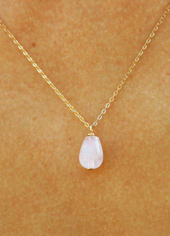 Pink quartz necklace strawberry quartz necklace rose quartz pink quartz necklace strawberry quartz necklace rose by maylovely aloadofball Images