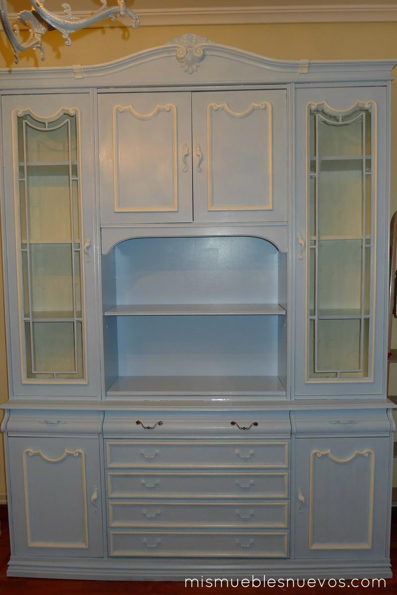 Mueble cl sico de sal n comedor pintado en azul muebles - Muebles de salon antiguos ...