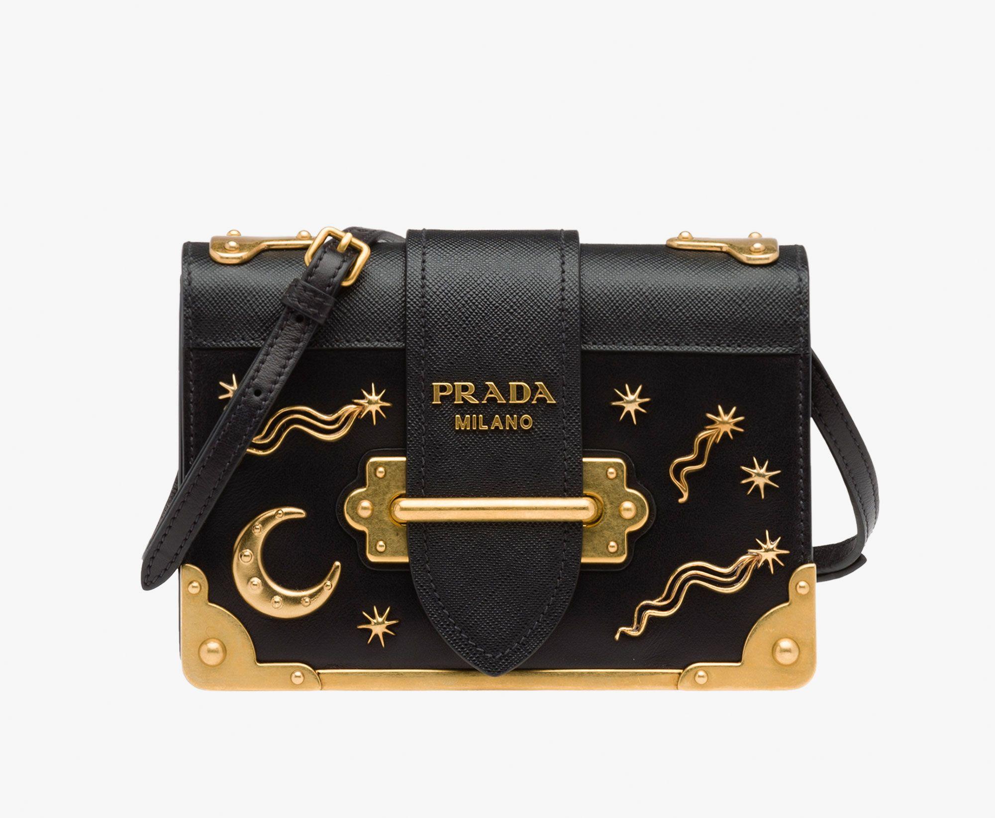 6f1f66d2c0 Prada 1BH018 Moon x Stars Cahier Bag In Black