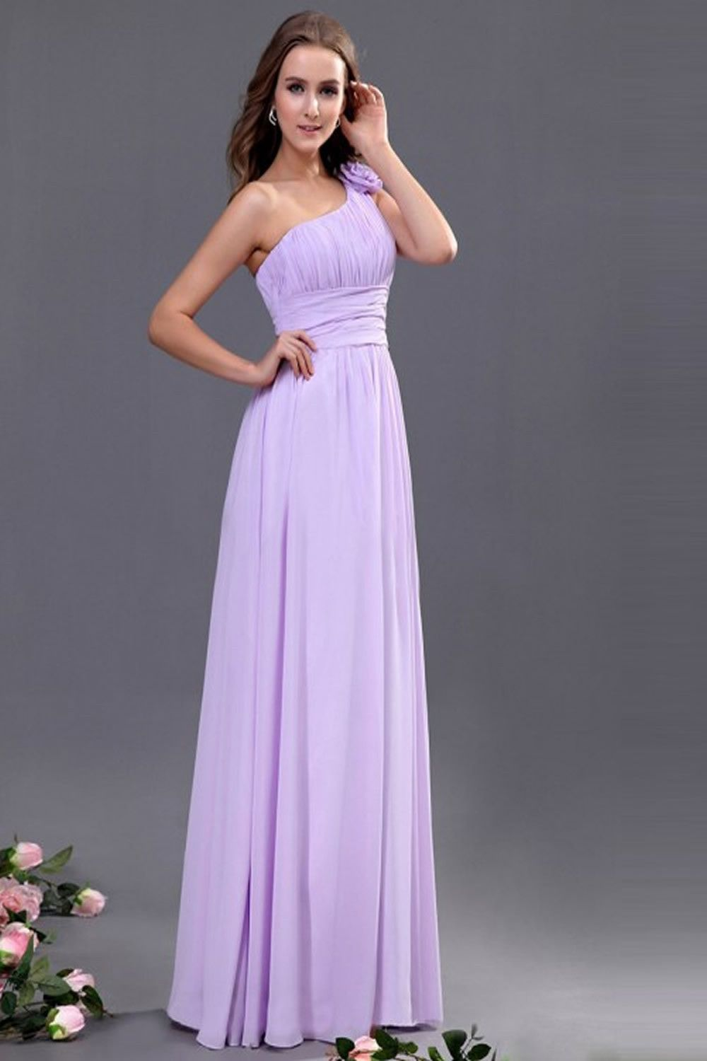 Lavender One Shoulder Chiffon Empire Long Prom Dresses ED0698 ...