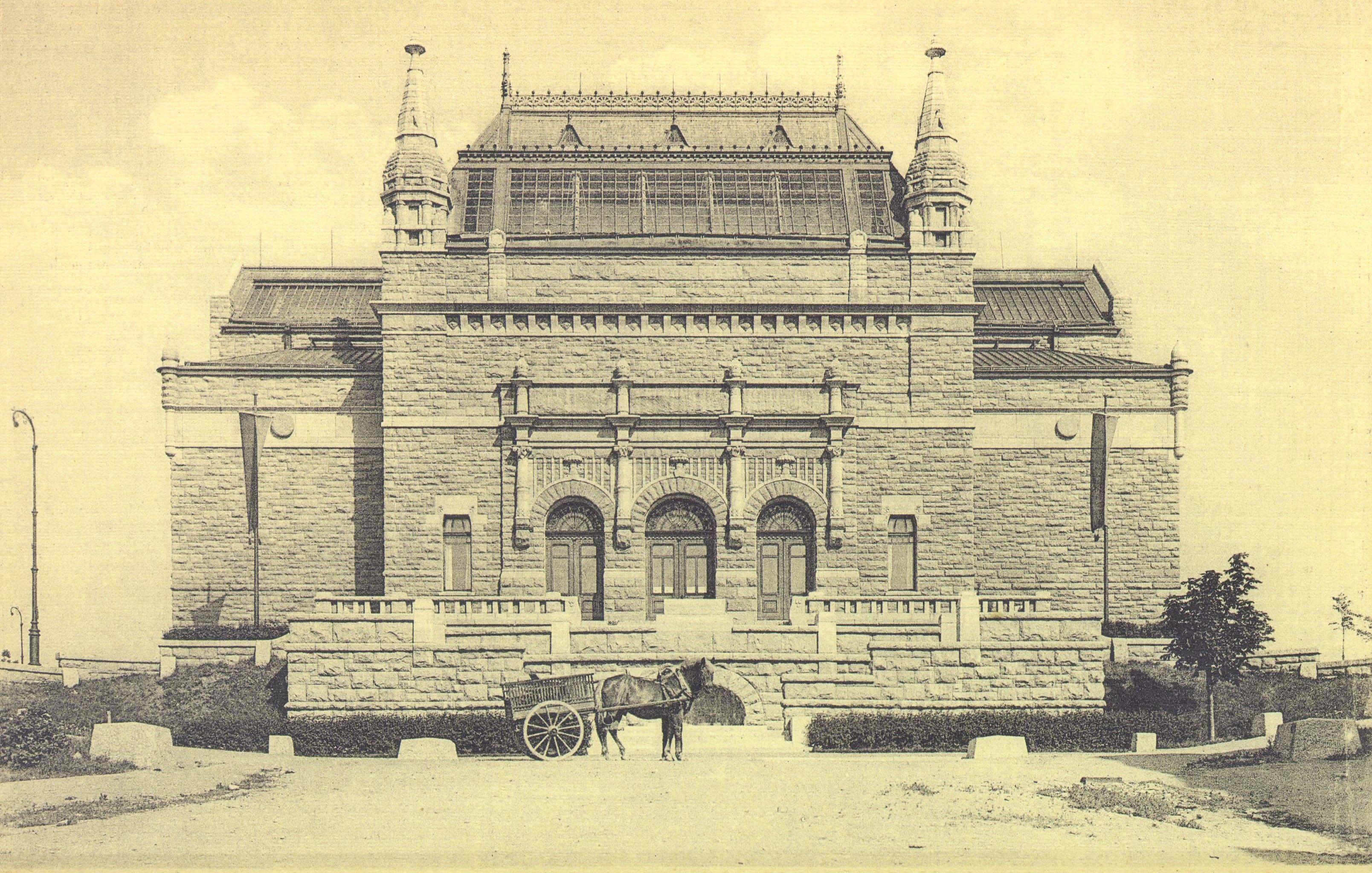 1900-luvun alun postikorttikuva vastavalmistuneesta taidemuseosta. Kuva: Rauno Lahtinen.