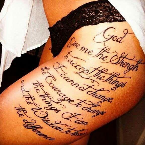 Shoulder Tattoo Quote Ribcage Serenity Prayer: Serenity Prayer Thigh Tattoo