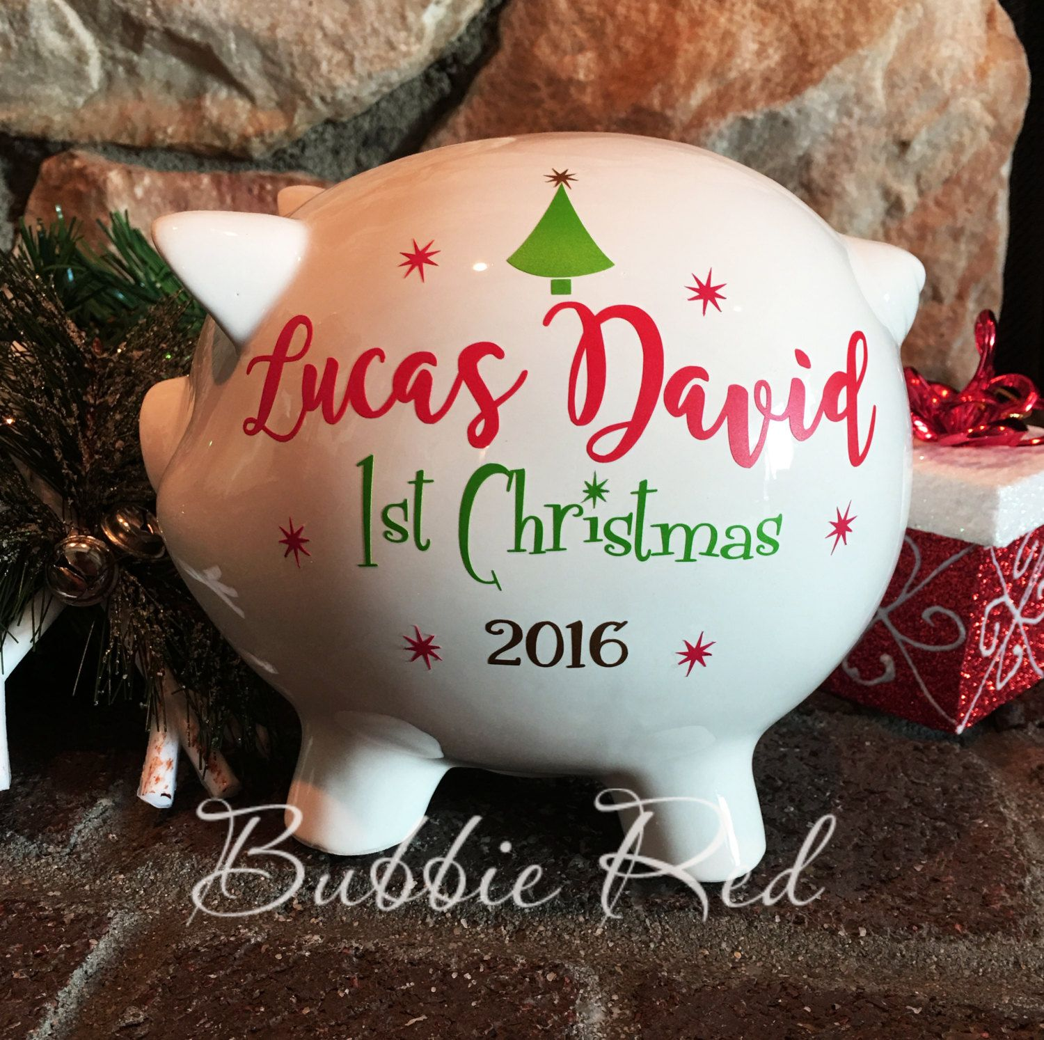Babys 1st christmas piggy bank babys first christmas gift babys 1st christmas piggy bank babys first christmas gift christmas baby gift personalized negle Images