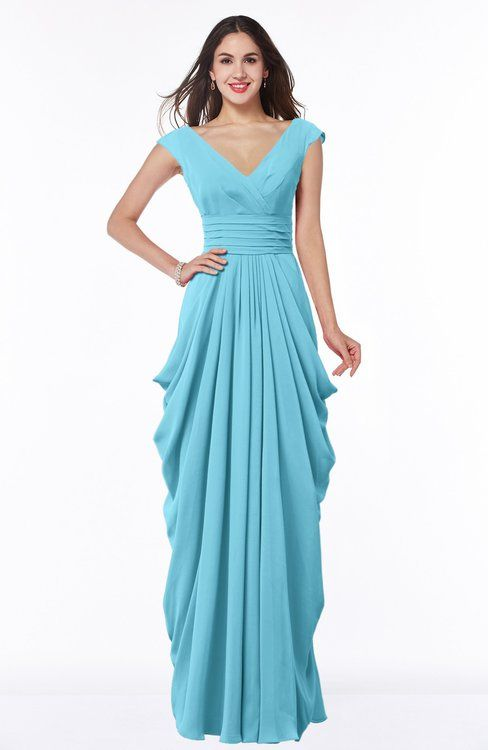 Mature V-neck Short Sleeve Chiffon Floor Length Plus Size Bridesmaid ...