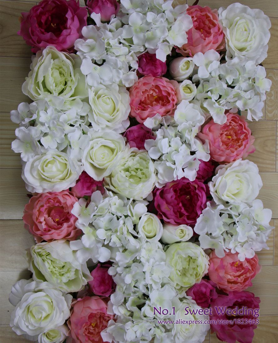 2016 New Silk Flower Hydrangea And Rose Wedding Flowers Wall For