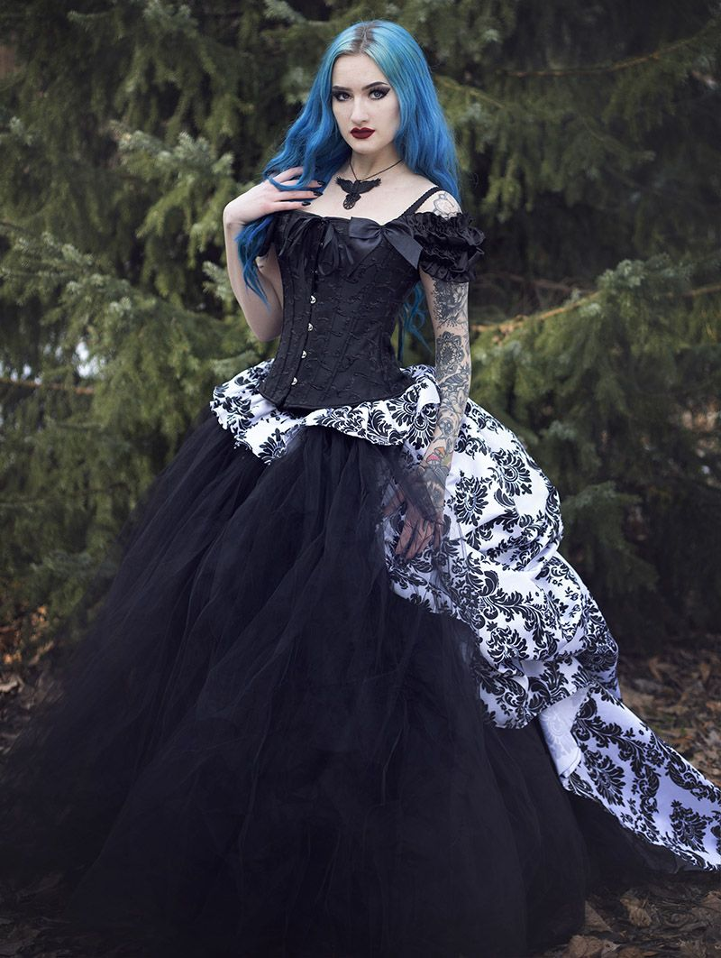 Romantic gothic corset victorian style long prom gown devilnight