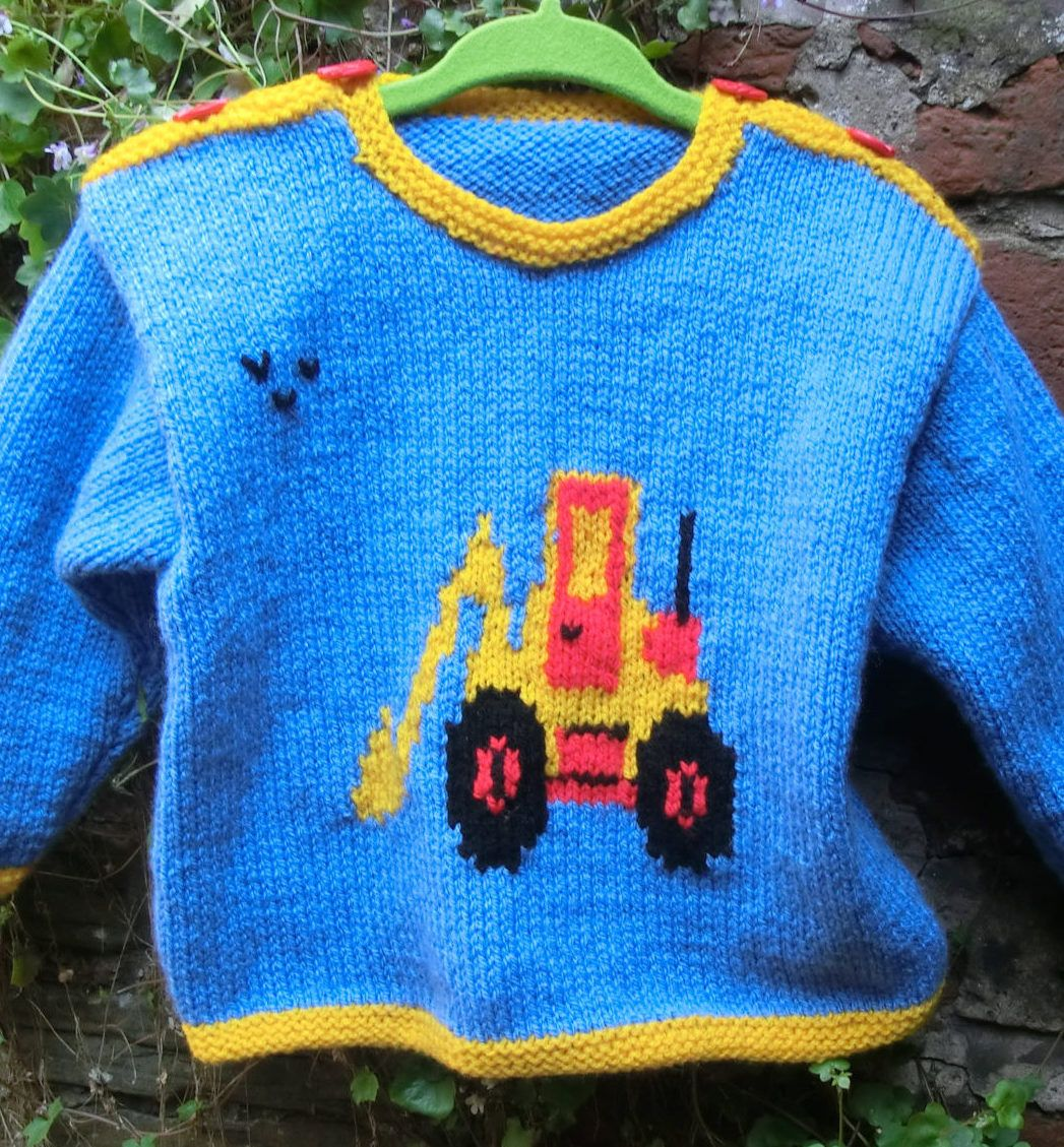Knitting Pattern for Digger Motif Baby Sweater - Long sleeved baby ...
