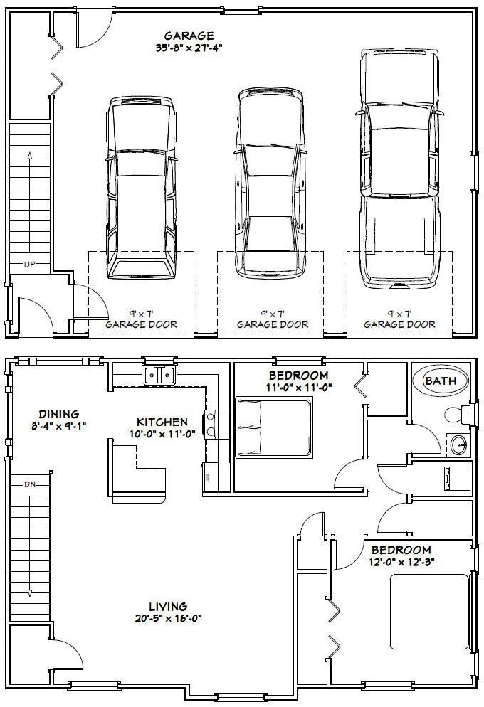40x28 3 car garage 40x28g9 1146 sq ft excellent garage apartment floor plans3 bedroom