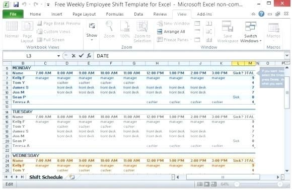 weekly employee schedule template excel allows user to schedule