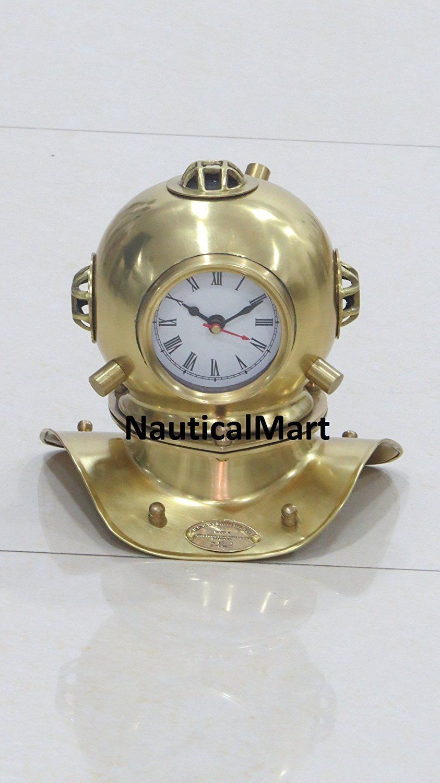 Solid Brass Nautical Divers Helmet Clock U S Navy By Nauticalmart Solid Brass Clock Brass