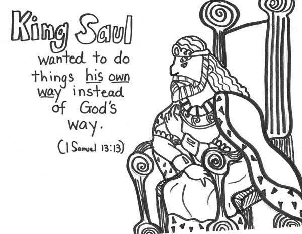King Saul Refuse Gods Way Coloring Page Bible Coloring Pages