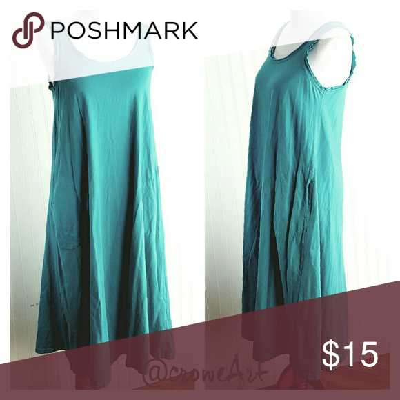 🌻👣🌼👙END OF SUMMER SALE 👙🌼👣🌻 100% Cotton everyday turquoise oversized A-line t-shirt midi, sleeveless,  pockets, front and back scoop neckline.  Made for comfort!  Made in USA   Size Medium Cut Loose Dresses Midi