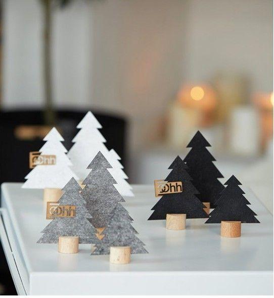 Oohh Design Kleine Weihnachtsbäume Filz auf Sockel