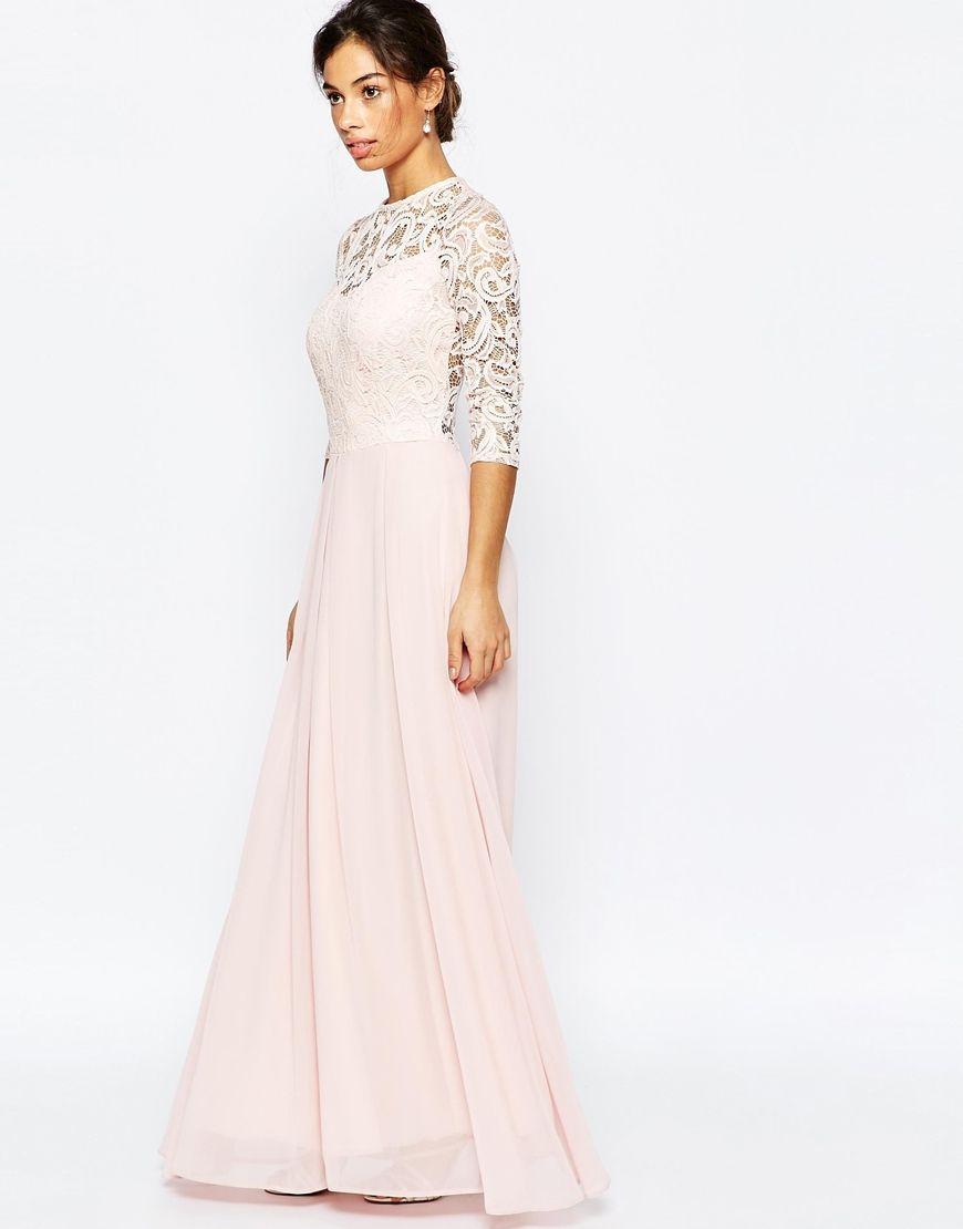 Image 4 of John Zack Petite Heavy Lace 3/4 Sleeve Bodice Maxi Dress ...