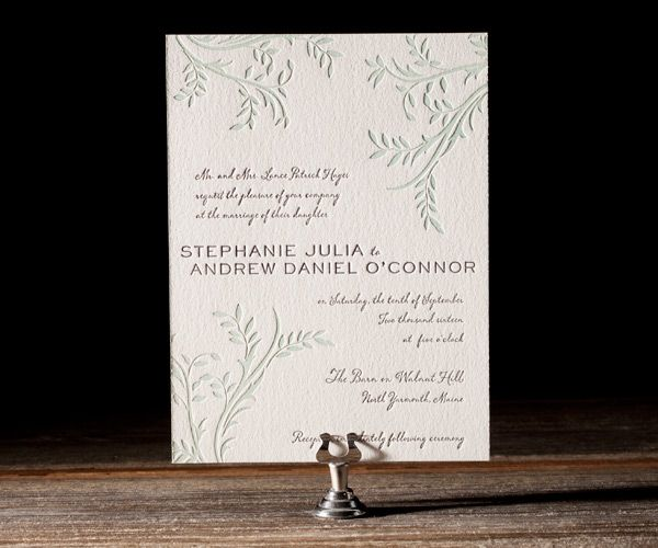Letterpress printed on the most gorgeous, tree-free cotton paper you've ever held, this invitation makes for a stunning precedent to the dazzling times your guests will have in store for them on your big day.