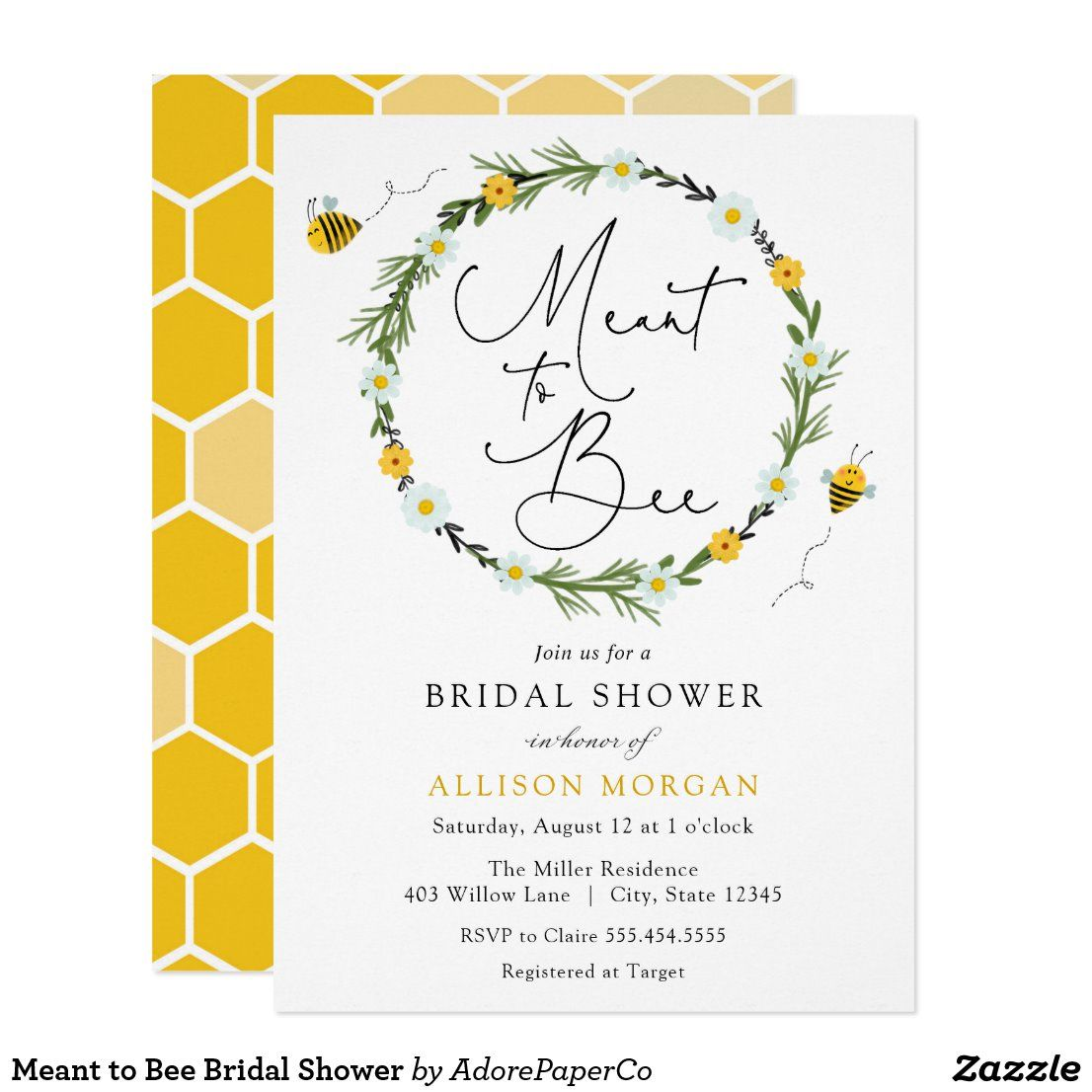 Meant To Bee Bridal Shower Invitation Zazzle Com In 2020 Wedding Shower Themes Bee Wedding Bee Wedding Theme