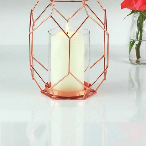 Copper Geometric Candle Holder