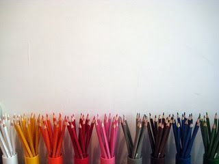 pencils arranged by colour