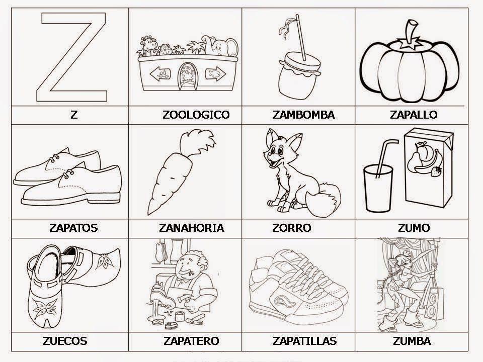 Palabras E Imagenes Con Za Ze Zi Zo Zu Para Ninos Aprender Las Letras Actividades De Letras Abecedario