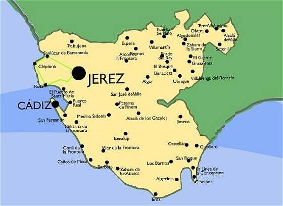 Mapa Cadiz Ruta Sanlucar De Barrameda Chipiona Y Parque