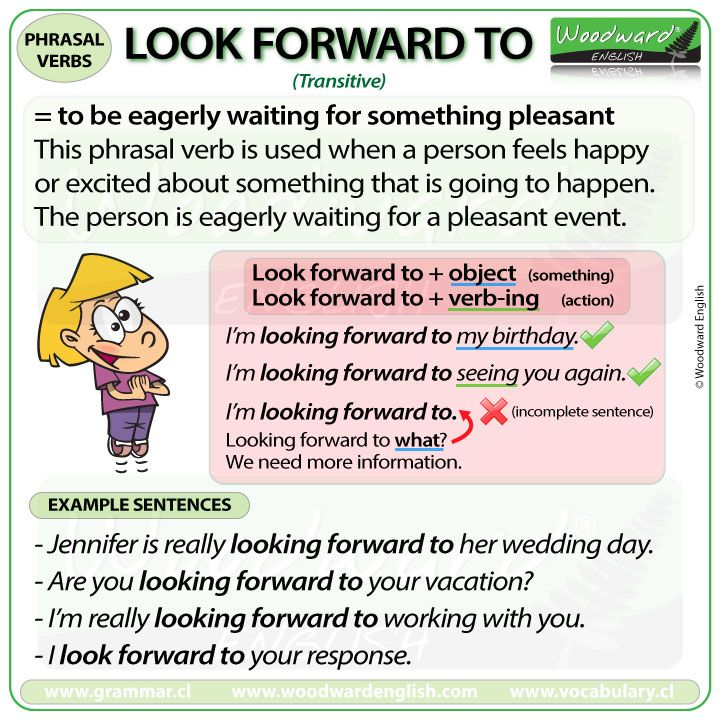 Look Forward To Phrasal Verb Meanings And Examples Pinterest