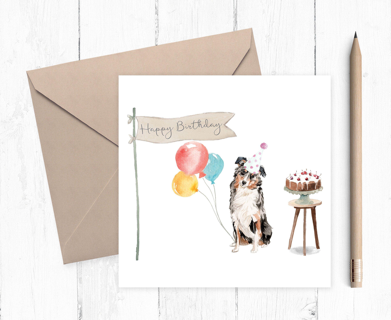 Australian Sheepdog Birthday Card Birthday cards, Cards