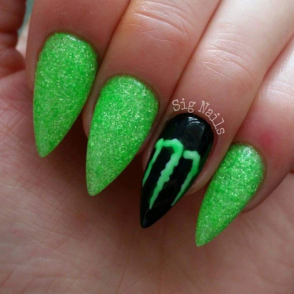 Monster energy nails | Sig Nails (my own work) | Pinterest