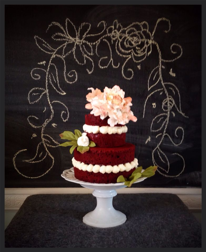 Naked Cake   Red Velvet With Sugar Peony Flower ! Sweet Samantha.com