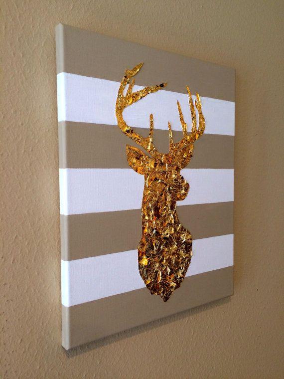 11 x 14 Acryl Blattgold Gemälde von Deer Kopf von HartofGoldDesign