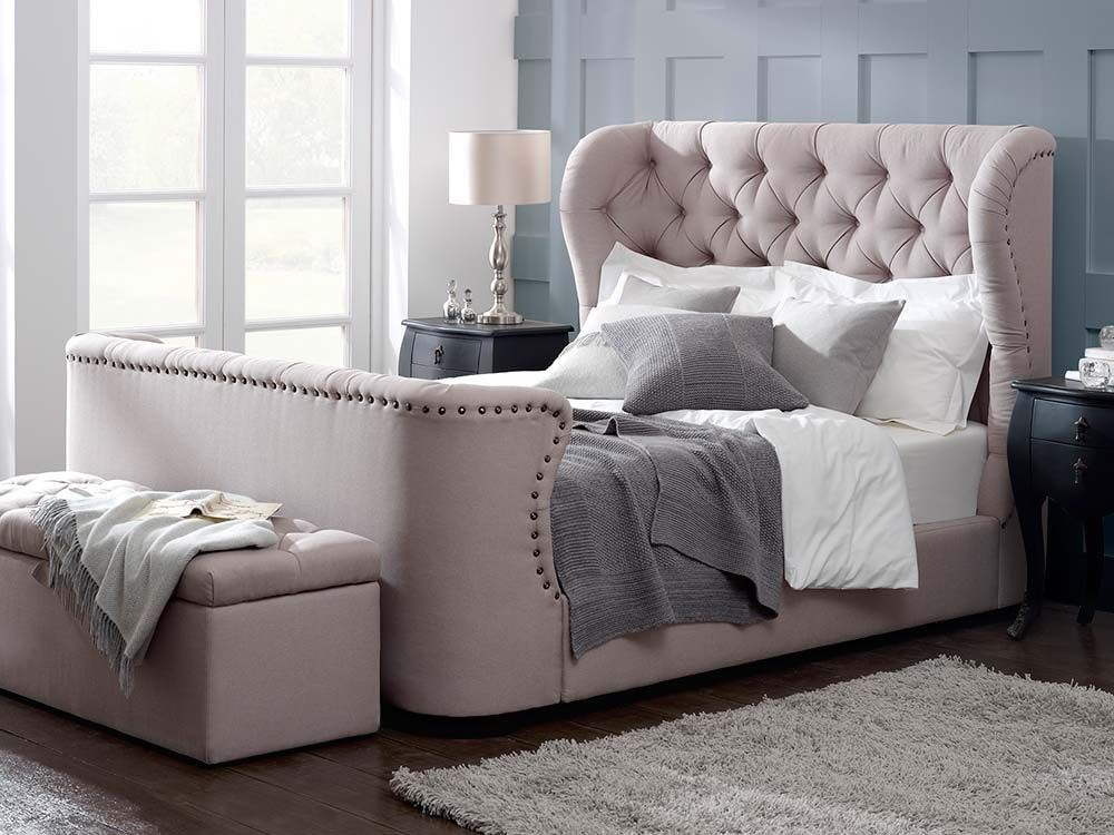 Cadence upholstered high footboard bed livingitupcouk